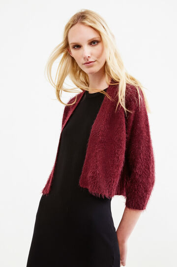 Knitted cardigan with ribbing, Aubergine, hi-res