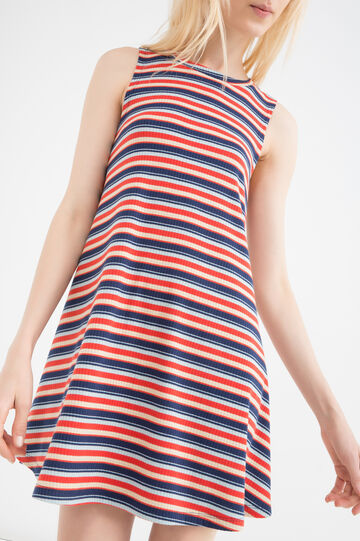Short dress with striped print, Red, hi-res