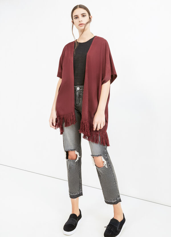 Cape with shawl neck and fringe | OVS
