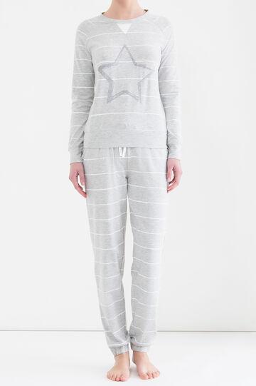 Maglia pigiama stretch con glitter, Grigio melange, hi-res