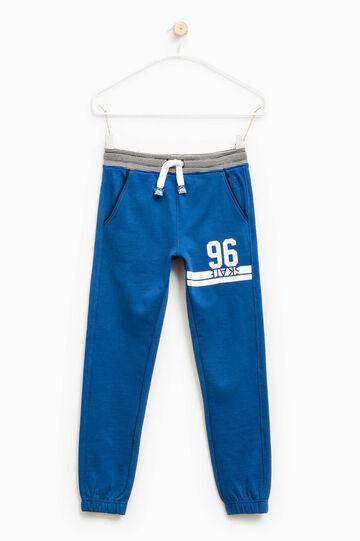 Printed cotton joggers, Blue, hi-res