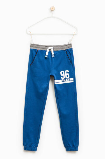 Pantalón de chándal en algodón 100% con estampado, Azul, hi-res