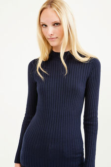 Ribbed pullover with high neck, Blue, hi-res