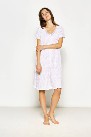 Patterned nightshirt with lace