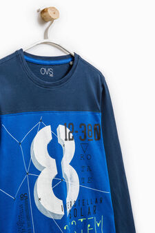 100% cotton T-shirt with print, Electric Blue, hi-res