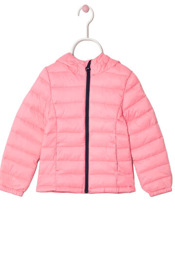 Down jacket with zip in contrasting colour, Peach Orange, hi-res