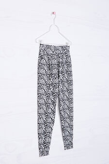 Cotton blend patterned trousers, White, hi-res