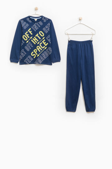 Full-length pyjamas in 100% cotton, Navy Blue, hi-res
