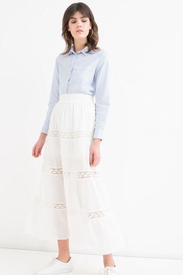 Solid colour 100% cotton skirt, White, hi-res