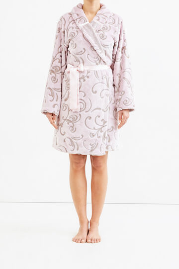 Patterned fleece dressing gown, White/Pink, hi-res