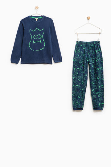 Fleece pyjamas with monster pattern, Navy Blue, hi-res