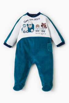 Cotton onesie with small side pocket, Teal Green, hi-res