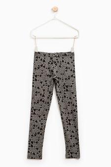 Leggings cotone stretch stampati, Grigio, hi-res