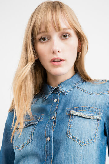Denim shirt with mother-of-pearl press studs, Medium Wash, hi-res