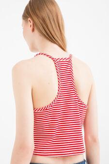 Viscose blend striped, stretch crop top, White/Red, hi-res