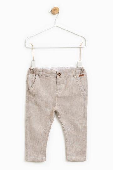 Stretch mélange linen trousers