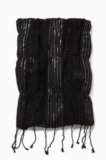 Openwork scarf with lurex, Black, hi-res