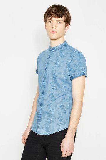 Slim-fit casual patterned denim shirt, Light Wash, hi-res