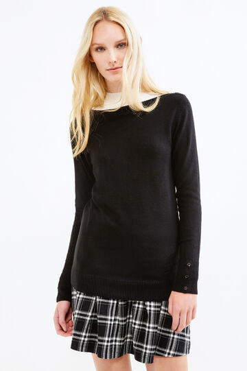 Pullover with buttons on cuffs, Black, hi-res