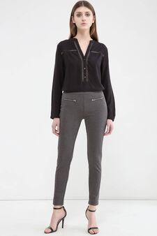 Solid colour viscose blend leggings., Grey, hi-res