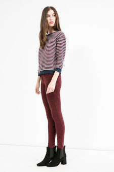 Stretch sweatshirt with striped pattern, Claret Red, hi-res