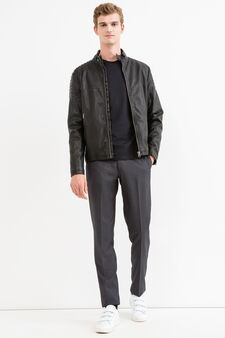 Leather look, quilted jacket with zip, Black, hi-res