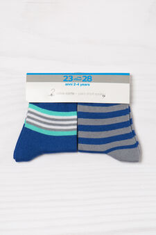 Three-pair pack of striped socks, Royal Blue, hi-res