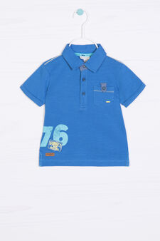 Polo puro cotone con stampa, Blu bluette, hi-res