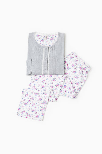 Stretch cotton pyjamas with floral pattern, Grey Marl, hi-res
