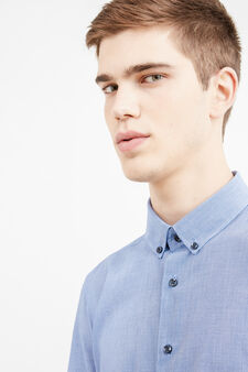 Micro-check casual cotton shirt, Blue, hi-res