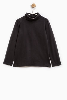 Stretch cotton turtleneck jumper, Black, hi-res