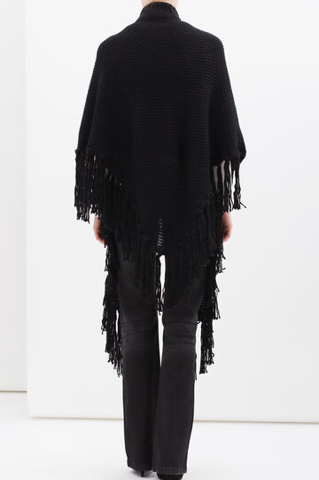 Knitted shawl with fringe, Black, hi-res