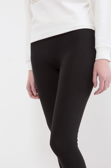 Solid colour stretch leggings, Black, hi-res