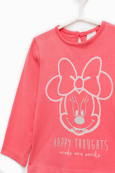 Stretch cotton T-shirt with Minnie Mouse print, Coral Pink, hi-res