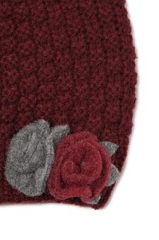 Rosebud beanie cap, Claret Red, hi-res