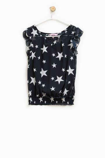 Sleeveless blouse with star pattern, White/Blue, hi-res