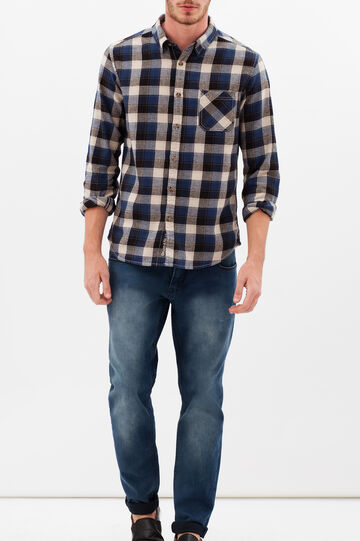 G&H cotton flannel shirt, Blue/Grey, hi-res