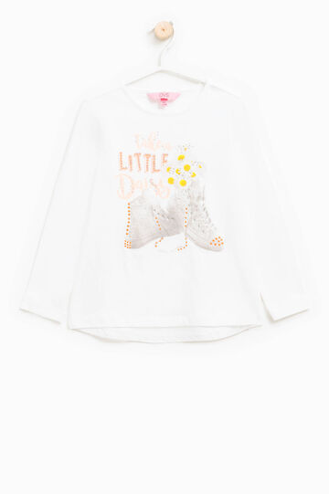 T-shirt in cotone stretch con stampa, Bianco, hi-res
