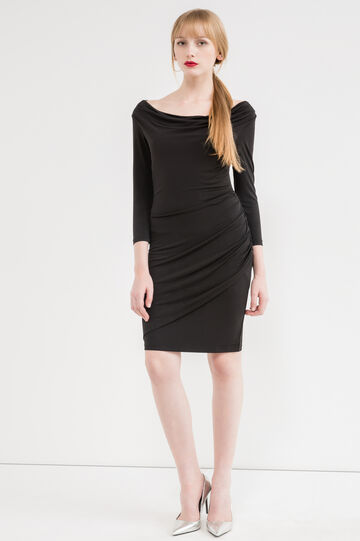Stretch dress with three-quarter sleeves, Black, hi-res
