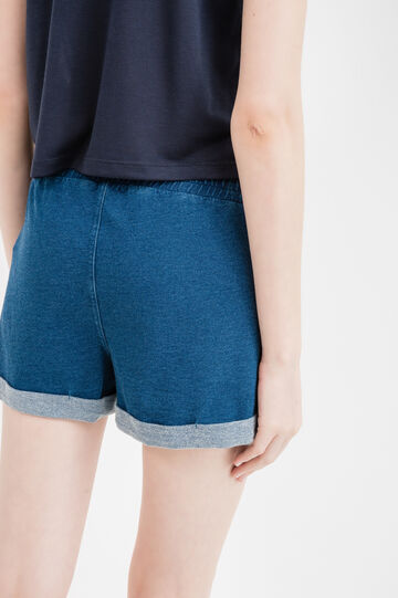 Cotton fleece shorts with turn-ups, Denim, hi-res