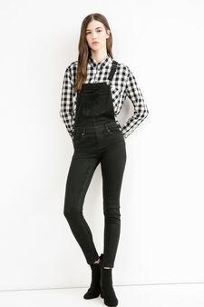 Salopette di jeans skinny fit stretch, Nero, hi-res