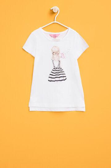 T-shirt girocollo con stampa glitterata, Bianco/Rosa, hi-res