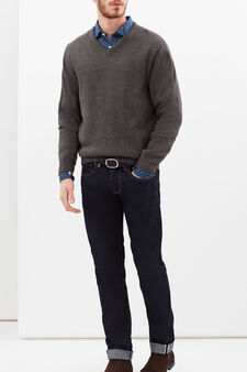 100% cotton slim fit shirt, Navy Blue, hi-res