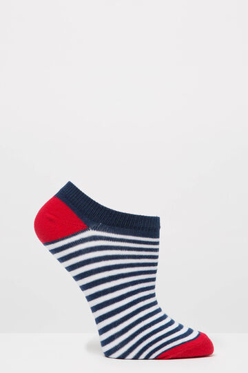 Three-pair pack short patterned socks, Blue/Red, hi-res