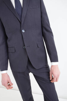 Elegant slim-fit suit in stretch viscose, Blue, hi-res