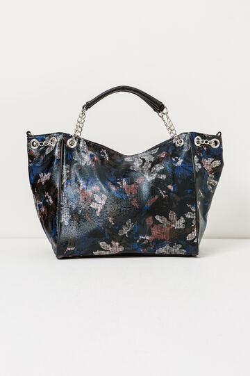 Handbag with pattern, Black/Blue, hi-res