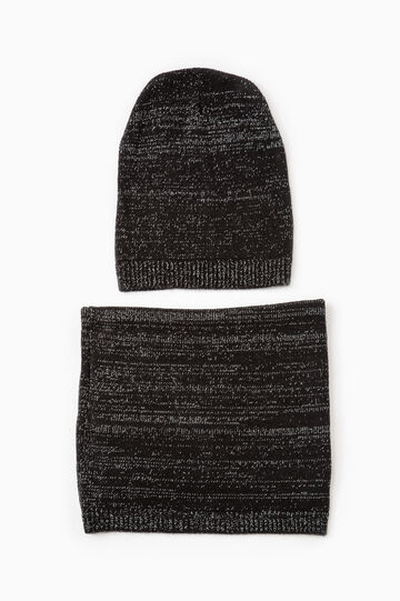 Set consisting of beanie cap and neck warmer, Black, hi-res