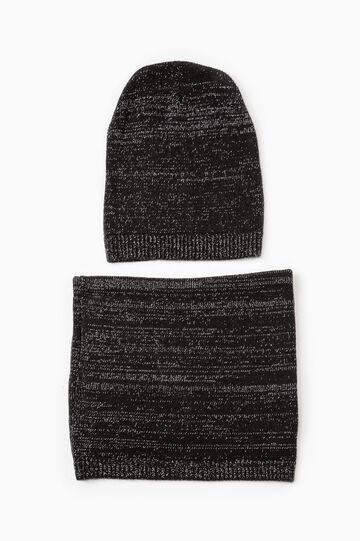 Set consisting of beanie cap and neck warmer, Black, hi-res