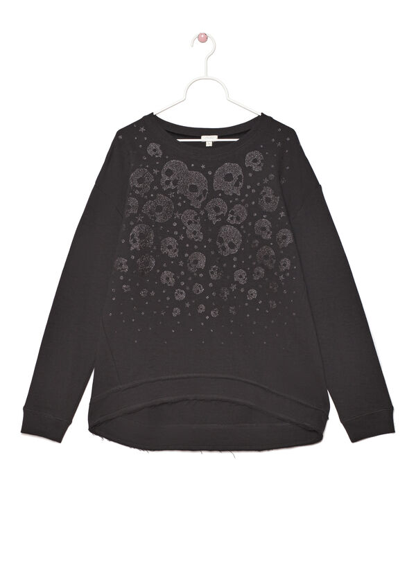 Cotton blend printed sweatshirt | OVS