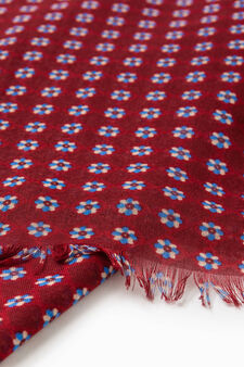 Scarf with fringed edges and flower pattern, Red, hi-res